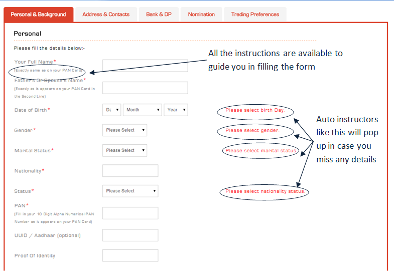 Fill out your personal details - PAN Exactly as it appears in your PAN Card