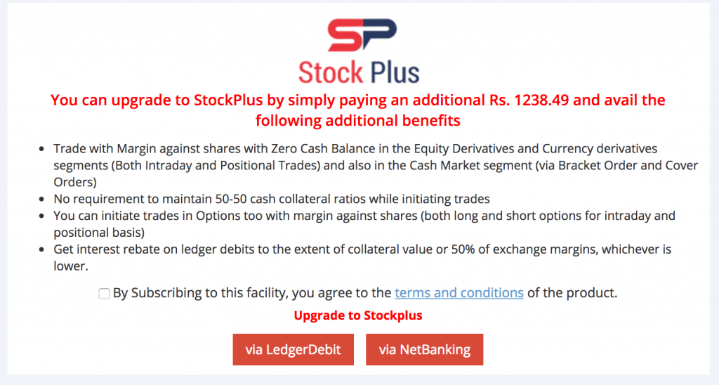 Upgrade to StockPlus - Margin against shares trading account